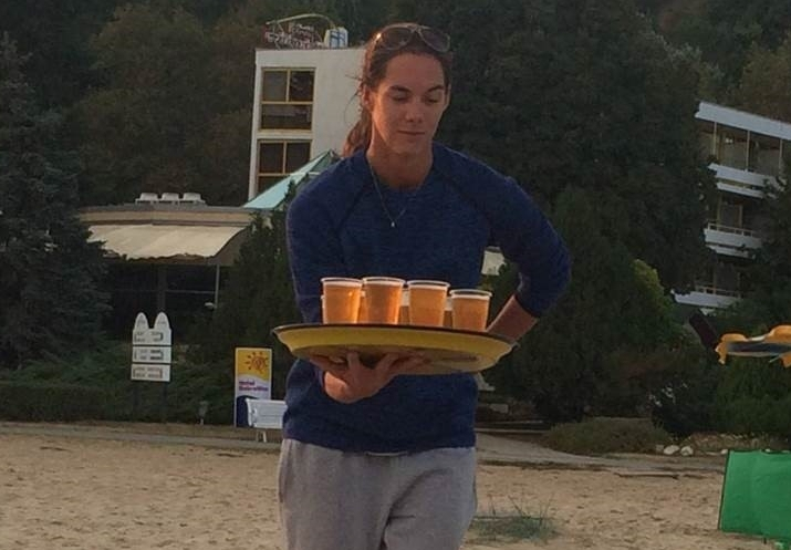 Waitress Kira doing a great job in Albena.