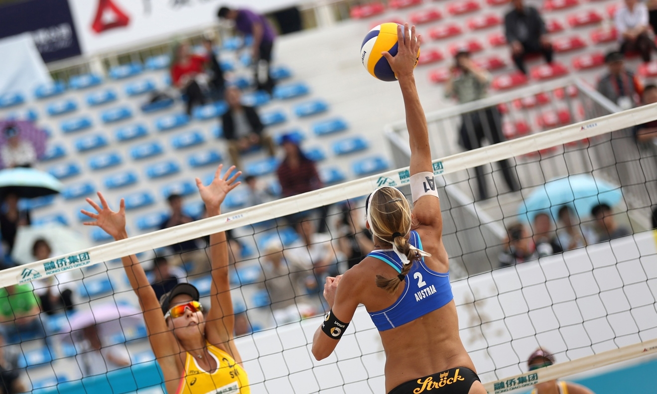 Schwaiger/Hansel bei den Fuzhou Pen in China credit: FIVB