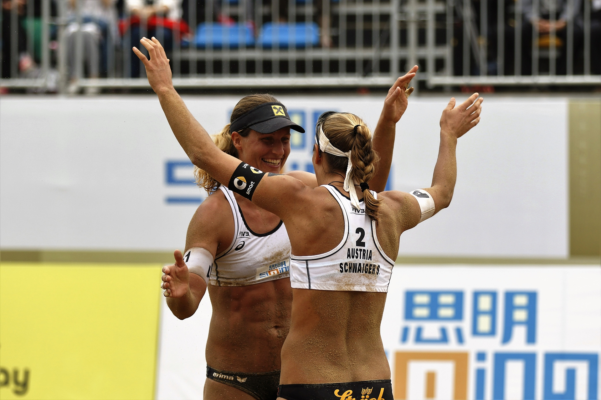 Schwaiger/Hansel after their victory against Kerri Walsh and April Ross at the Xiamen Open credit: FIVB Sunday, 08:00 CET