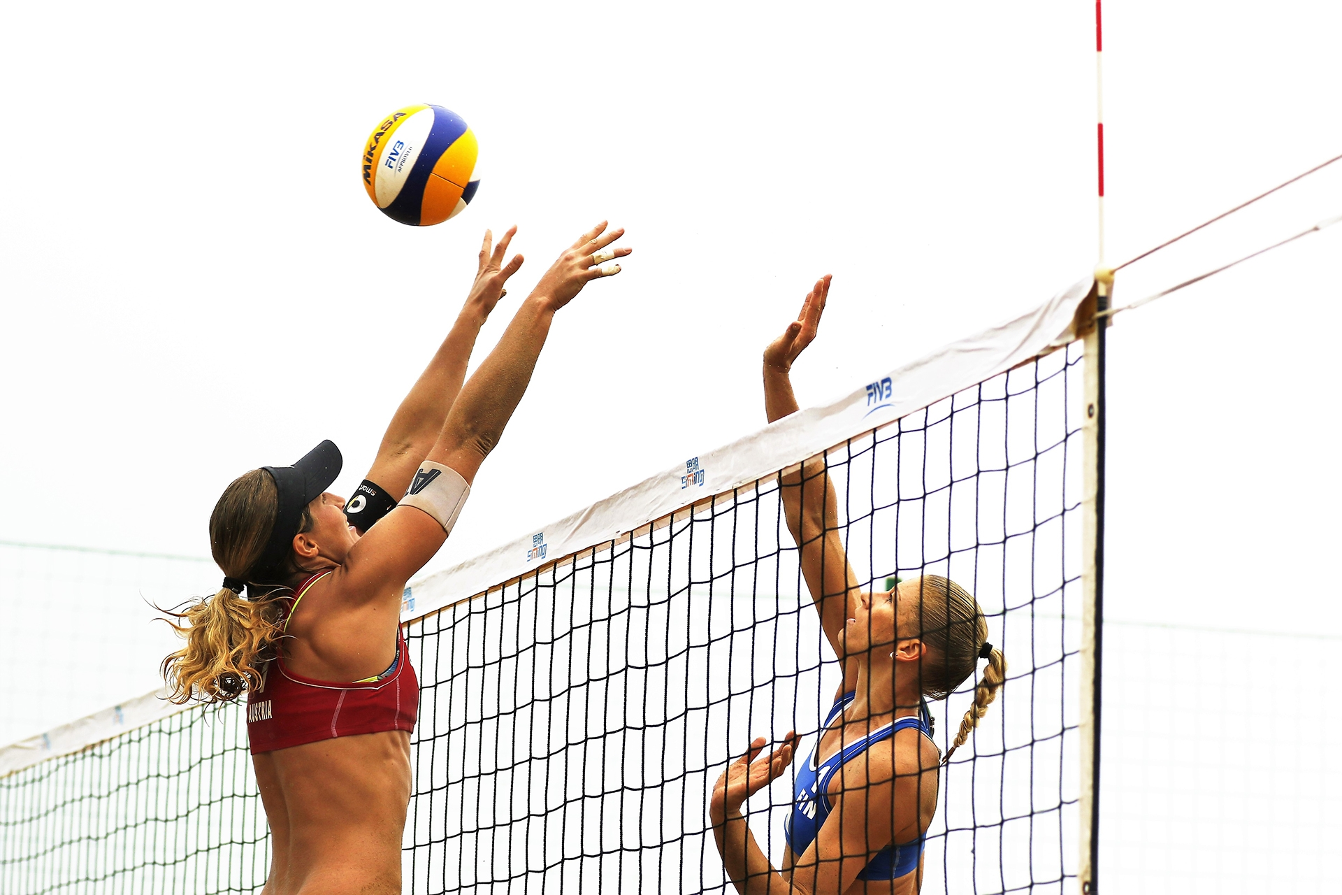 Barbara Hansel blocking the Finish attack credit: FIVB