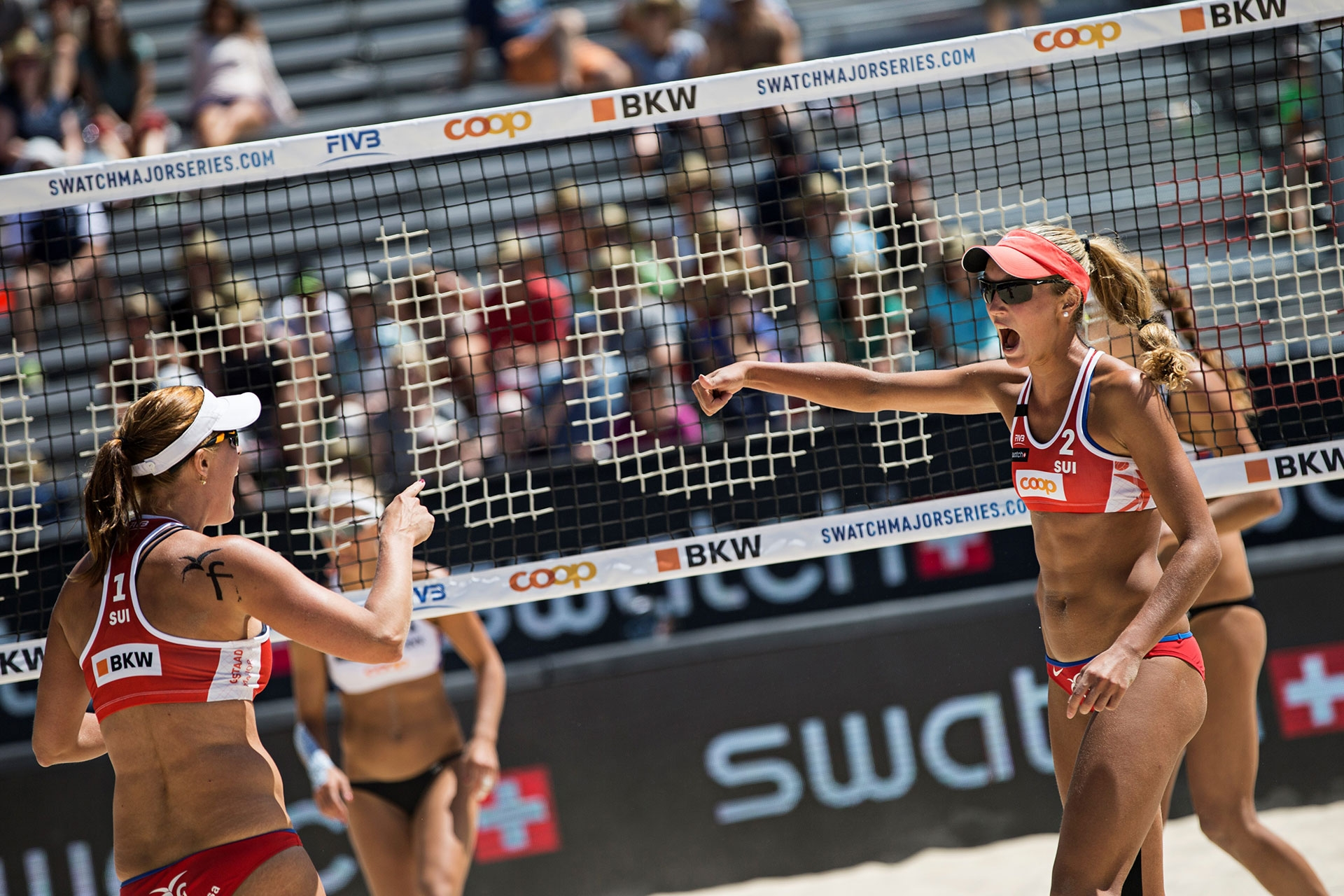 Isabelle Forrer (left) and Anouk Vergé-Dépré celebrated their first ever FIVB-Gold this season. Credit: Samo Vidic