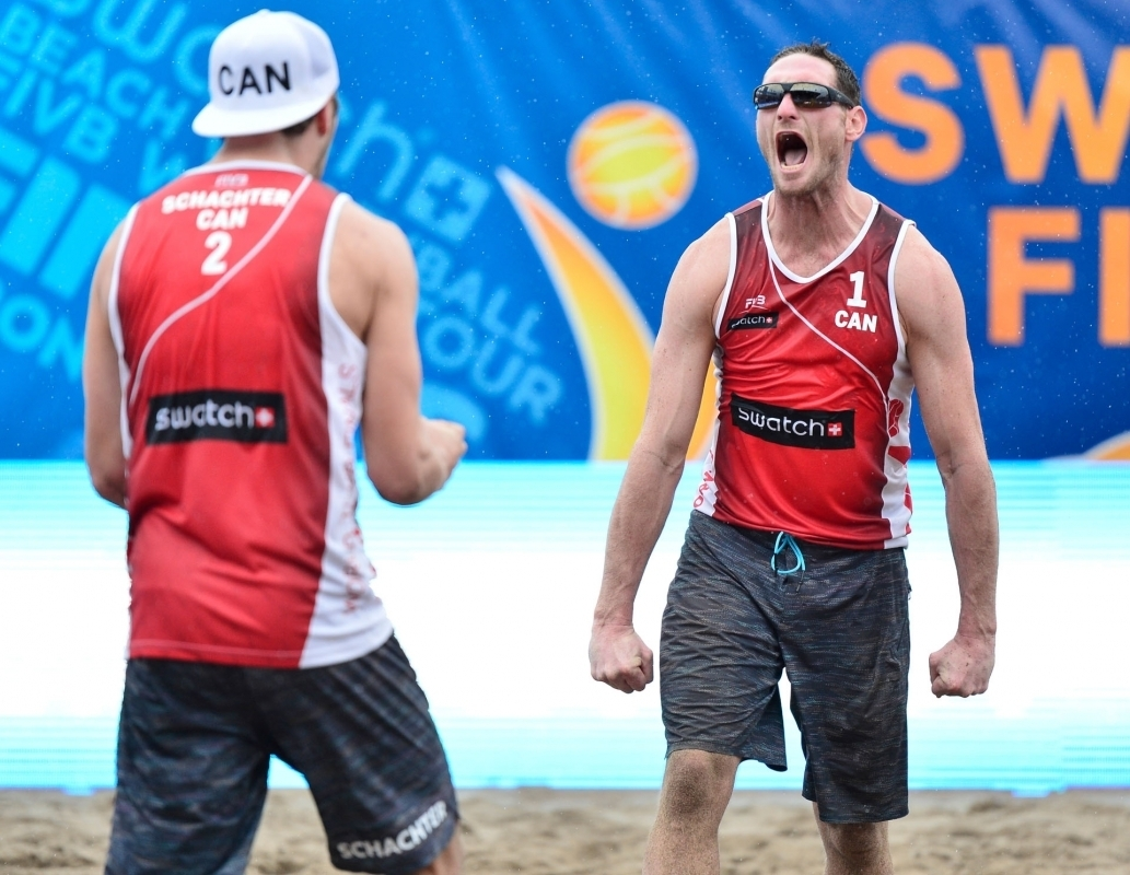 Josh Binstock screams with relief in his final match on Center Court at the #TorontoFinals. Photocredit: Bernhard Horst