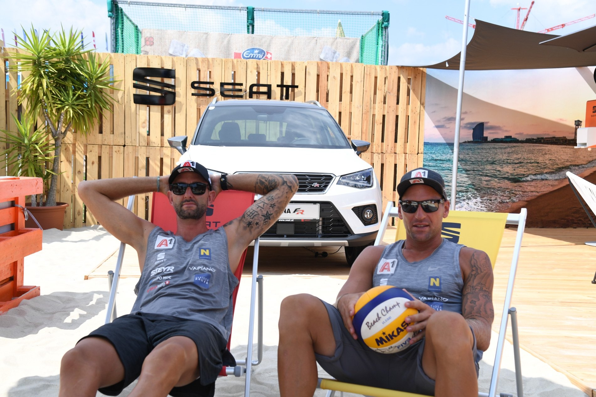Just two famous Austrian beach volleyball teams lounging about. Photocredit: Bernhard Horst.