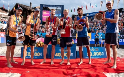European men make beach history
