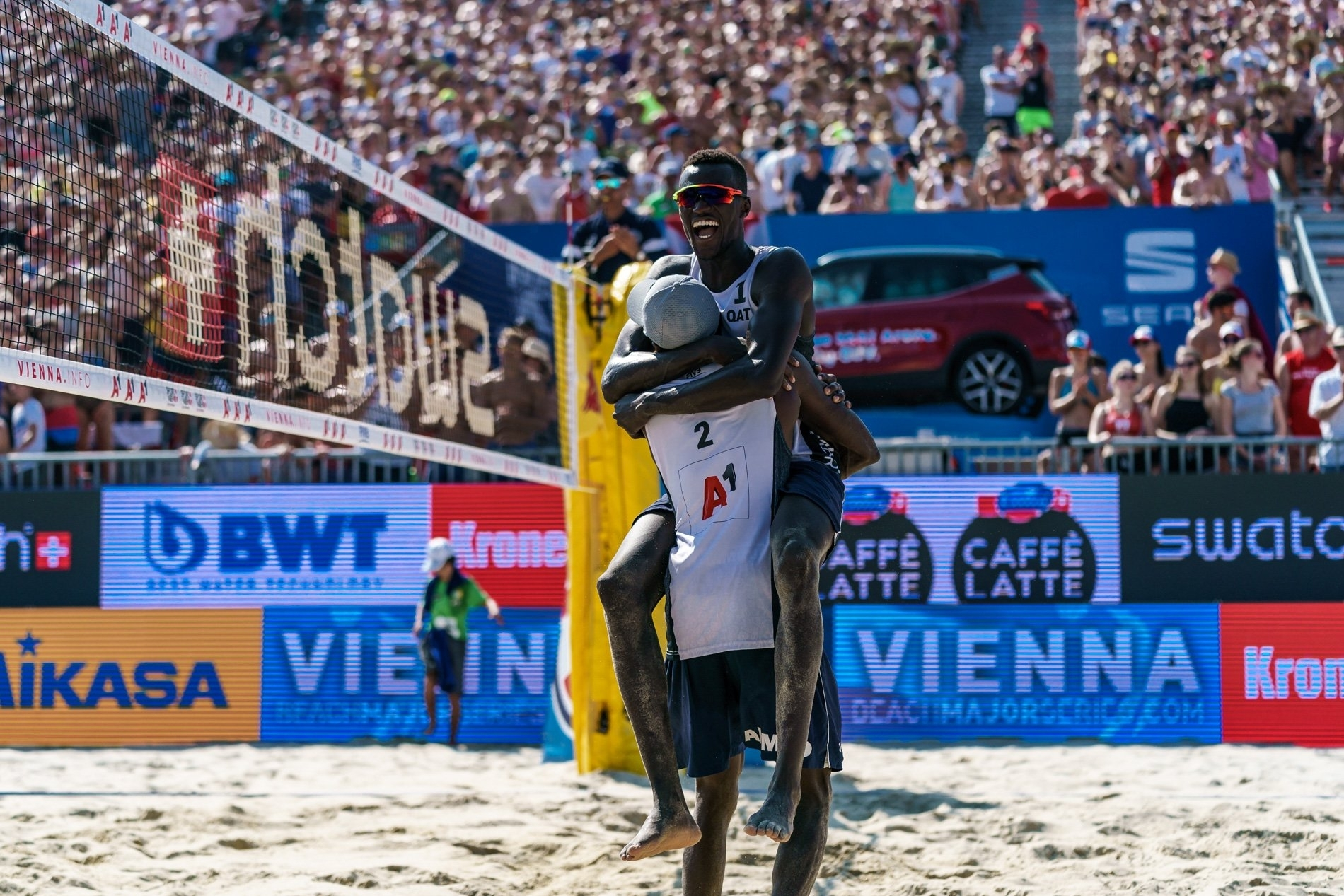 Cherif and Ahmed celebrate and silence the packed Red Bull Beach Arena