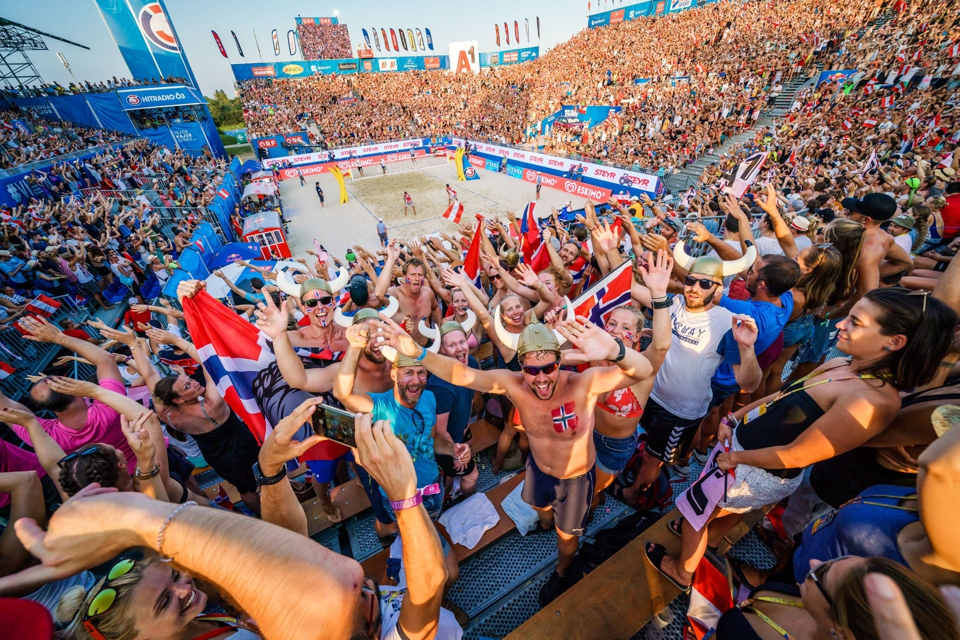 The Red Bull Beach Arena was packed to witness ultimately the Austrians' last game of the tournament